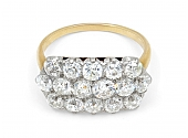 Antique Edwardian Cluster Diamond Ring in 18K and Platinum