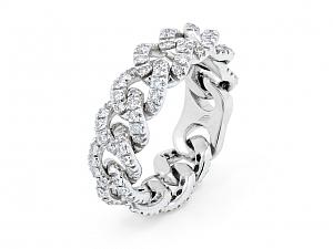 Diamond Link Ring, by Beladora, in 18K White Gold