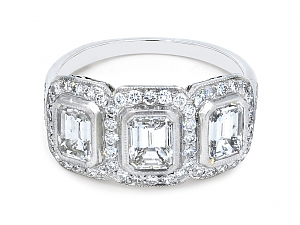 Art Deco Three Stone Emerald-Cut Diamond Ring in Platinum