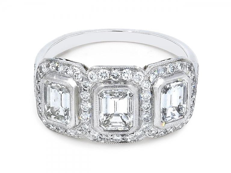 Video of Art Deco Three Stone Emerald-Cut Diamond Ring in Platinum