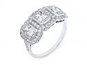 Art Deco Three Stone Emerald-Cut Diamond Ring in Platinum