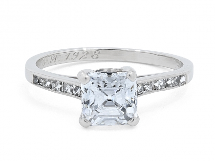 Tiffany & Co. Art Deco Asscher-cut, 1.21 carat D/VS-1, Diamond Ring in Platinum