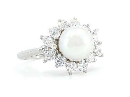 Tiffany & Co. 'Victoria' Pearl and Diamond Ring in Platinum