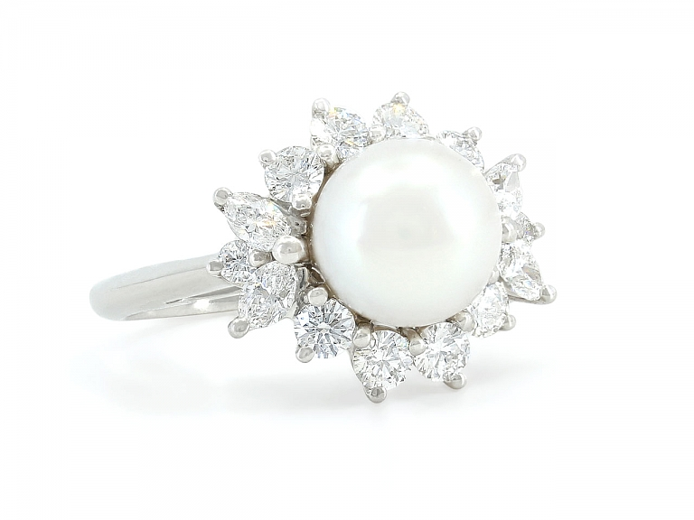 Video of Tiffany & Co. 'Victoria' Pearl and Diamond Ring in Platinum