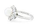 Tiffany & Co. 'Victoria' Pearl and Diamond Ring in Platinum