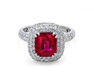 Ruby, 4.03 carat Burma Minor Heat, and Diamond Ring in Platinum