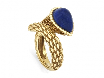 Boucheron 'Serpent Bohème' Lapis Ring in 18K Gold