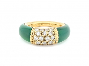 Van Cleef & Arpels 'Philippine' Green Onyx and Diamond Ring in 18K