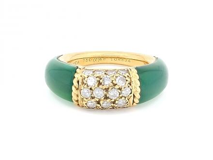 Van Cleef & Arpels 'Philippine' Green Onyx and Diamond Ring in 18K