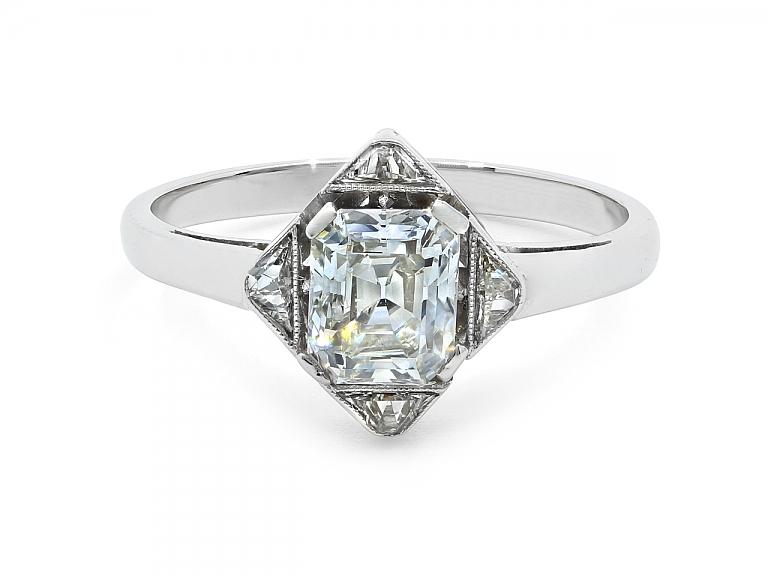 Video of Art Deco Emerald-cut Diamond Ring in Platinum