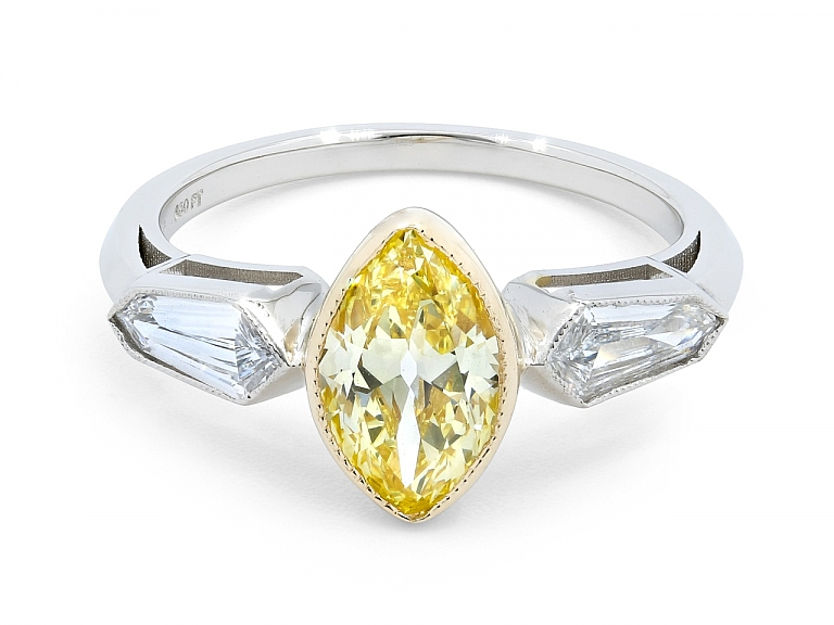 Video of Beladora 'Bespoke' Marquise Fancy Intense Yellow Diamond, 1.13 carats, Ring in Platinum and 18K Gold