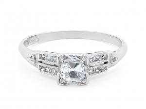 Art Deco Old Mine Brilliant Cut Diamond Ring, 0.56 carat E/SI-1, in Platinum