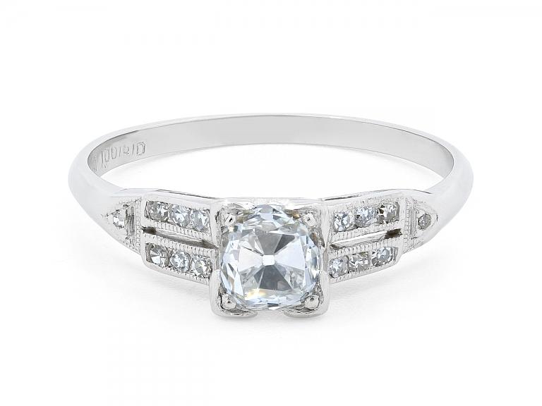 Video of Art Deco Old Mine Brilliant Cut Diamond Ring, 0.56 carat E/SI-1, in Platinum