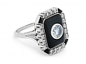 Art Deco-Style Diamond and Onyx Ring in 18K White Gold
