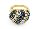 Domed Sapphire and Diamond Ring in 18K Gold