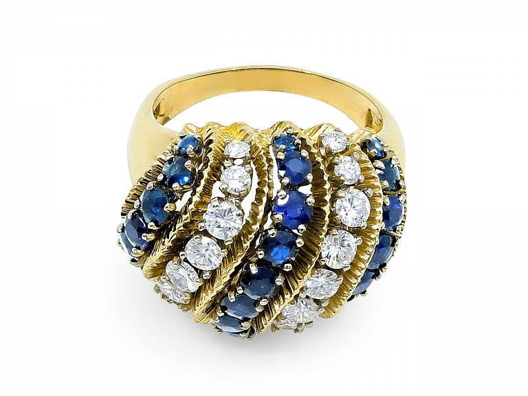 Video of Domed Sapphire and Diamond Ring in 18K Gold