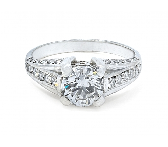 Diamond Ring, 1.31 carat F/ SI-1, in Platinum