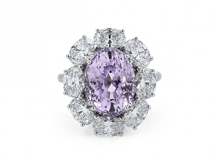 Tiffany & Co. Oval Purple Sapphire, 8.80 carat, and Diamond Ring in Platinum
