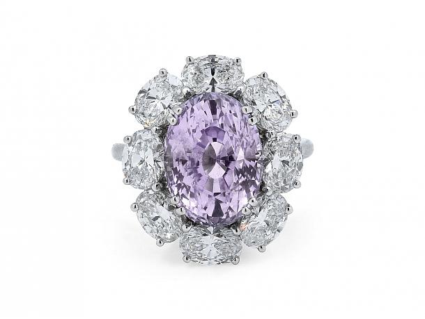 Tiffany & Co. Oval Purple Sapphire, 8.80 carat, and Diamond Ring in Platinum