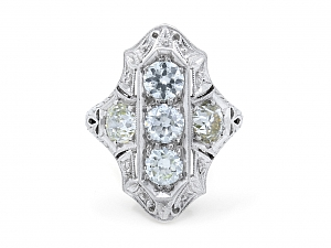 Art Deco Three-Stone Diamond Ring in Platinum