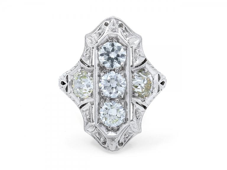 Video of Art Deco Three-Stone Diamond Ring in Platinum