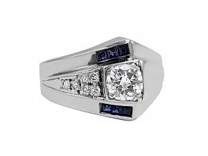 Retro Sapphire and Diamond Asymmetrical Ring in 14K White Gold