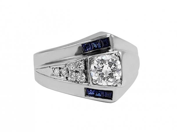 Retro Sapphire and Diamond Asymmetrical Ring in 14K White Gold