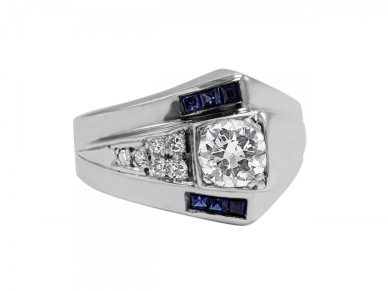 Video of Retro Sapphire and Diamond Asymmetrical Ring in 14K White Gold