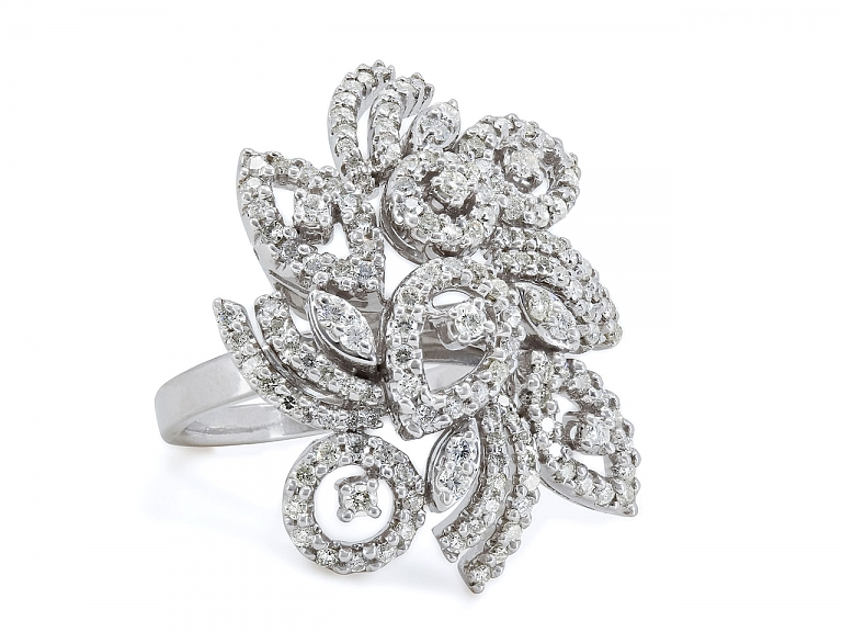 Video of Floral Diamond Cluster Ring in 18K White Gold