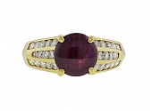 Star Ruby and Diamond Ring in 18K