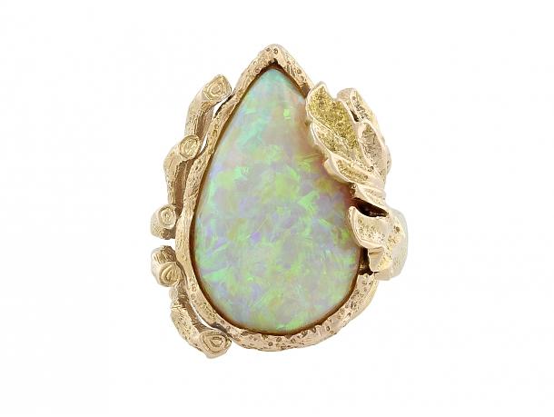 Modernist Opal Ring in 14K