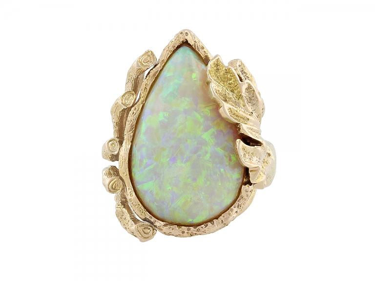 Video of Modernist Opal Ring in 14K