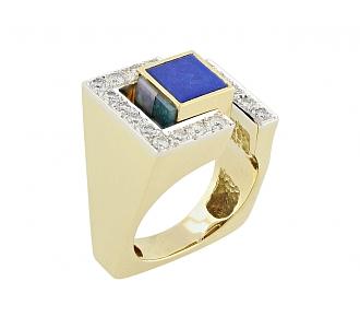 Diamond and Gemstone Turning Ring in 18K