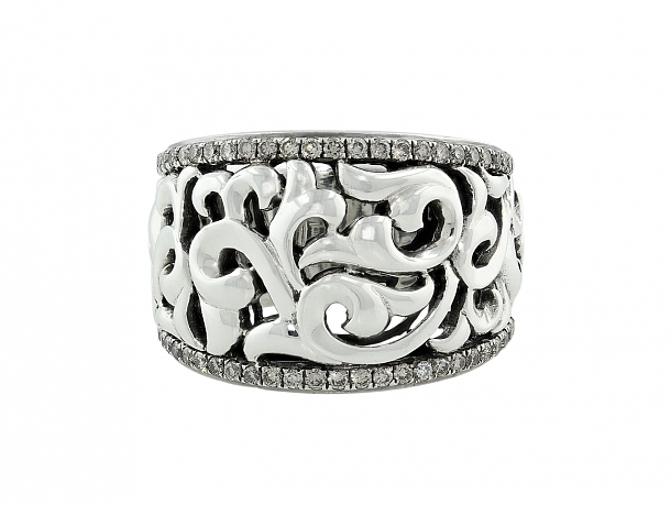 Charles Krypell Diamond Ring in Silver