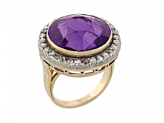 Antique Victorian Amethyst and Diamond Ring in 14K
