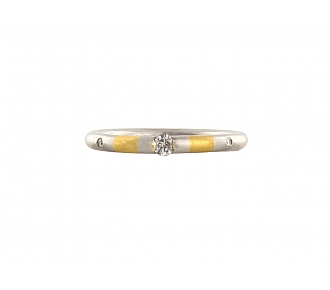 Nieissing Three Diamond Band in Platinum and 24K