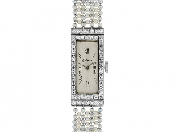 Art Deco Diamond and Natural Seed Pearl Watch in Platinum