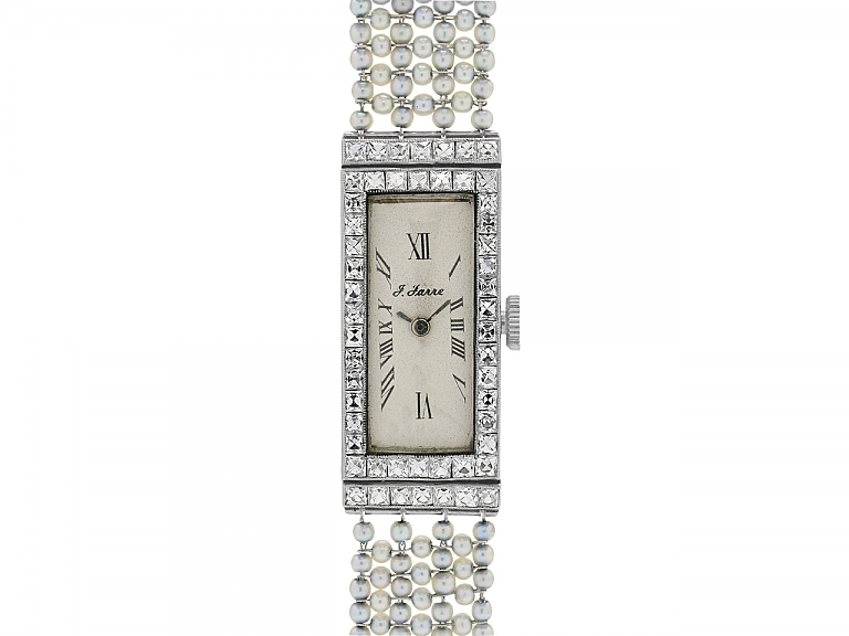 Video of Art Deco Diamond and Natural Seed Pearl Watch in Platinum