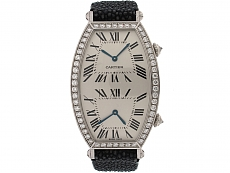 Cartier Dual-Time Tonneau Diamond Watch in 18K