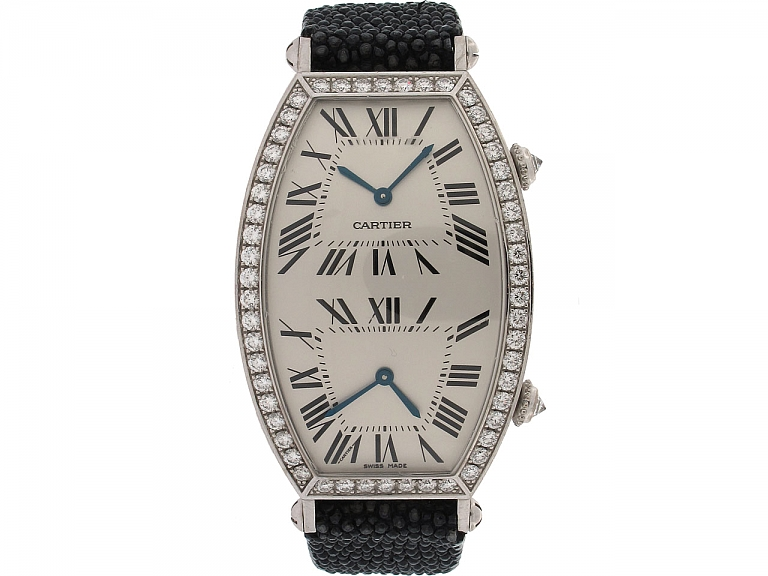 Video of Cartier Dual-Time Tonneau Diamond Watch in 18K
