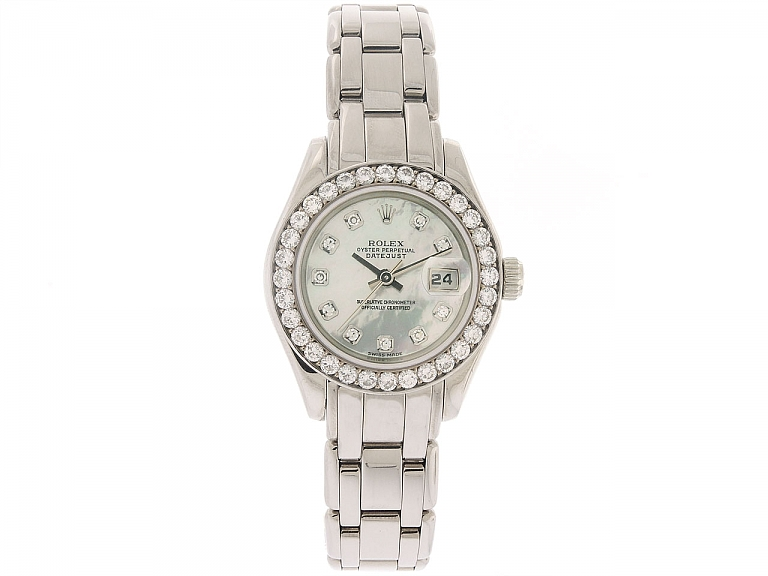 Video of Rolex Lady-Datejust 'Pearlmaster' with Mother-of-Pearl Dial and Diamond Bezel in 18k White Gold, 29 mm