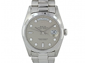 Rolex Diamond Oyster Perpetual 'Day-Date' Watch with President Bracelet in Platinum, 36 mm