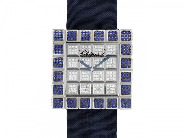 Video of Chopard Diamond and Sapphire 'Ice Cube' Watch in 18K