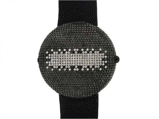 Christian Koban 'Clou' Black Diamond Dinner Watch in Stainless Steel