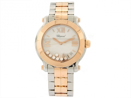 Chopard 'Happy Sport' Watch in 18K Rose Gold and Stainless Steel