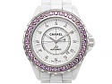 Chanel Pink Sapphire and Diamond 'J12' Watch in Ceramic and Steel