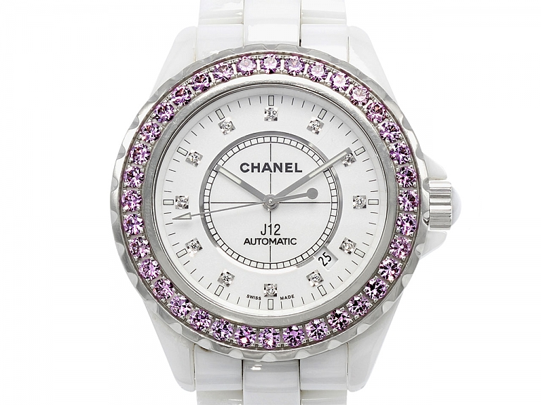 Video of Chanel Pink Sapphire and Diamond 'J12' Watch in Ceramic and Steel