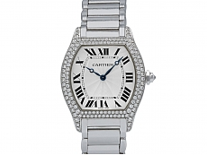 Cartier Diamond 'Tortue' Watch in 18K White Gold, 34 mm