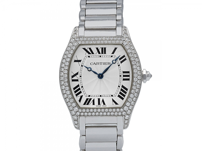 Video of Cartier Diamond 'Tortue' Watch in 18K White Gold, 34 mm