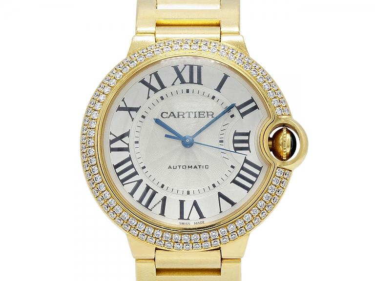 Video of Cartier 'Ballon Bleu' Diamond Watch in 18K Gold, 36 mm